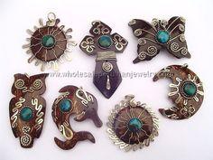 Assorted Handmade Coconut Pendantshttp://www.wholesaleperuvianjewelry.com