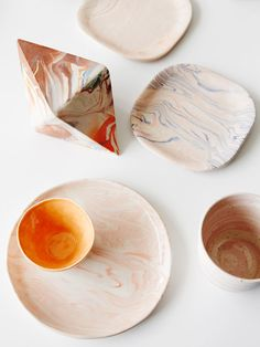 A combination of Jiah Jiah's marbled works at Guild of Objects store in North Melbourne. Photo – Annette O'Brien for The Design Files.