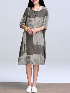 Shop Casual Dresses - Gray Printed Abstract Casual Crew Neck Print Dress online. Discover unique designers fashion at PopJuLia.com.
