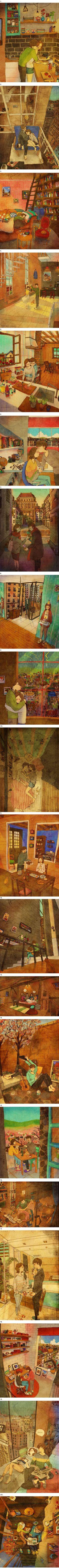 El artista coreano Puuung encontró una manera de capturar los momentos simples de la vida en pareja. Los simples detalles que construyen una relación.