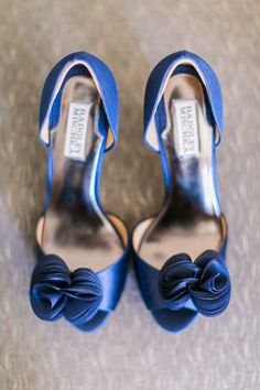 "If you're looking for your ""something blue"", then these Thora peep toe pumps from Badgley Mischka are totally chic! Find the shoes here, then check out this laidback sophisticated wedding for more blue wedding ideas.  PC: J Wiley Photography"