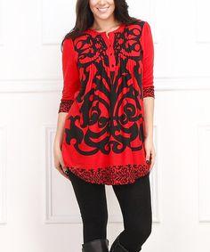 Red & Black Damask Notch Neck Tunic - Plus #zulily #zulilyfinds