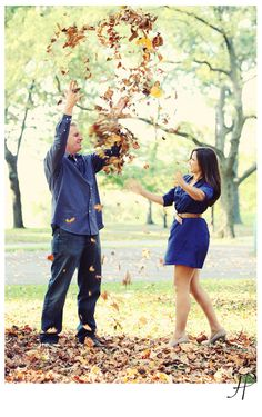 #engagement session #leaves #fall fun
