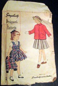 Child Sz 4 1950's Jumper Jacket Blouse Designer's Sewing Pattern Simplicity 8303 #Simplicity
