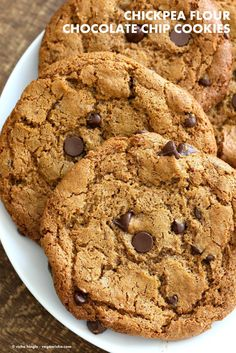 Huge Chewy Chickpea Flour Chocolate Chip Cookies These cookies need 1 Bowl, are grain-free, gluten-free, vegan and can be made nut-free. 3 gms of Protein per cookie.