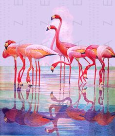 Hey, I found this really awesome Etsy listing at https://www.etsy.com/listing/348970561/flamingos-at-sunset-striking-art-deco