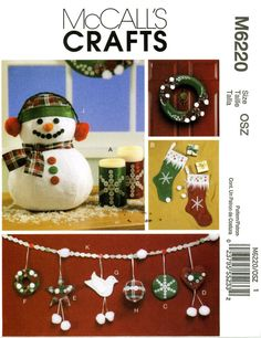 McCall's M6220 Craft Christmas Snowman Wreath Stockings Ornaments Garland Uncut Sewing Pattern 2010