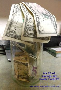 It's week 7 time to add $7 to your savings jar. Hope you're joining in in this challenge,     Blog'n Cents