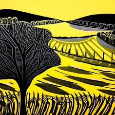 """Yellow Fields"", 2012, 3 Block Linocut by Cathy King. http://cathykingprints.com/ Tags: Linocut, Cut, Print, Linoleum, Lino, Carving, Block, Woodcut, Helen Elstone, Landscape, Trees"
