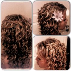 Hair by me :) curls with waterfall braid.