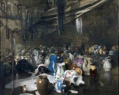 William Nicholson. The Hundred Jugs. 1916. 123.2 x 154.3 cm. National Museums Liverpool. Via BBC - Your Paintings