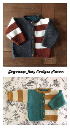Gingersnap Baby Cardigan Free Knitting Pattern – Knitting Projects - Knitting and Crochet Knitting For Kids, Free Knitting, Knitting Projects, Knitting Ideas, Baby Boy Knitting Patterns Free, Free Crochet, Crochet Projects, Crochet Gifts, Kids Crochet