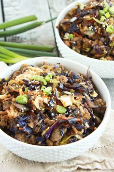 Egg Roll in a bowl is how we fulfill every take-out craving. Nothing compares to crunchy cabbage, hearty mushrooms and sausage all cooked in a ginger sauce.