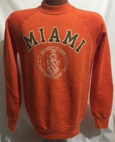 VTG 80s Champion University Of Miami 50/50 Blend Crewneck Sweatshirt Sz M USA