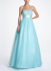 Feel like a princess in this stunning tulle prom dress! Strapless bodice is adorned with beautiful beading. Tulle skirt is fabulous and ultra-feminine. Empire sash cinches the waist creating a flattering silhouette. Fully lined. Back zip. Imported polyester. Dry clean. Also available in Plus sizes. Style DB027W David's Bridal exclusive style. A popular neckline for brides seeking a stylish and versatile look (offering unlimited jewelry and accessory options).Pearls, crystals, sequins, bugle ...