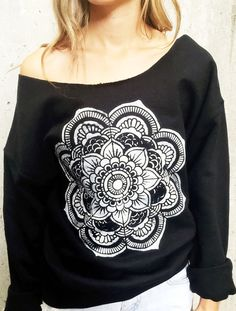 Black Mandala Top Yoga Off The Shoulder by TheBohipstian on Etsy