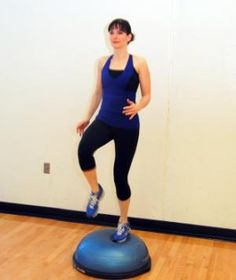 """Tabata Workouts- """"Running"""" on Mini-Trampoline or Bosu  Running in place on a mini-trampoline or Bosu is a great way to get the same cardio effect of running with much less pounding. Tip: Put one hand on a wall, chair, or trampoline bar until you're sure you've got your balance."""