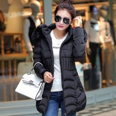 d180a25ae5f HLMFS New 2018Winter Coats Women Jackets Fur Collar Thick Ladies Down & Parkas  hooded cotton woman outwear jacket-in Parkas from Women's Clothing ...