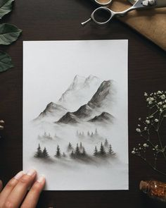 I think pine forests, nestled beneath the grandest of mountains, will always be the landscape that inspires the mystery and energy of our… Illustration Landscape, Pencil Sketches Landscape, Landscape Drawing Tutorial, Landscape Drawings, Drawing Sketches, Drawing Landscapes Pencil, Drawing Tips, Drawing Ideas, Charcoal Drawing Tutorial