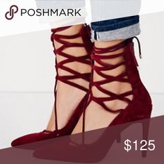 free people | hierro heels ꊛ free people ꊛ size 8.5 ꊛ preloved; used once - great condition   ☾suede stilettos that lace up over the ankle and zip up the back for easy on-off.  ꊛ × no paypal × no trades × be kind, have fun & stay lovely ო  メℴ メℴ Free People Shoes Heels