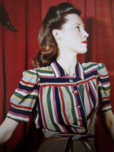1940s found photo booth color block striped blouse ties at waist button down collar blue red green print ad model 40s