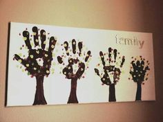 Family tree hand prints painting
