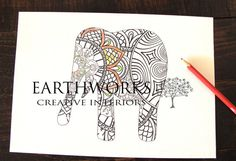 adult coloring page Hindu elephant colouring by Earthworkinteriors