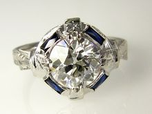 Rare...GIA1.50ct Late Edwardian Original Old European Cut Diamond with Sapphires in 18 Gold Engagement Anniversary Ring