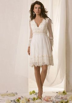 Wedding Dress Designs Long Sheer Sleeves Wedding Dress Knee Length V Neck Lace Beach Casual Short Bride Dress 2015 Spring Summer Wedding Dresses Ball Gown From Lynbridal, $81.68| Dhgate.Com