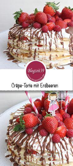 Manchmal geht es nicht ohne. Wir Frauen können oft ganz schön erfinderisch und kreativ sein. So wie neulich, als ich diese Crêpe-Torte mit Erdbeeren gemacht habe. #rezept #backen #Crepesrezept #crepe #kindergeburtstag #torte #pfannenkuchen #erdbeeren