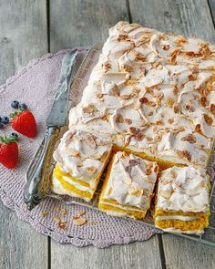 That's the official name for this Norwegian beauty, and we're not disagreeing. Maria Villmones Bondeson's recipe layers crisp meringue, sponge cake and clouds of custard to make a show-stopping treat. Layer Cake Recipes, Dessert Recipes, Cook Desserts, Health Desserts, Roasting Tins, Pavlova, Tortilla Chips, Let Them Eat Cake, Tray Bakes