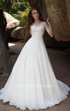 17d1d44d1a0 Ball Gown Long Bateau Short-Sleeve Illusion Chiffon Dress With Lace - Dorris  Wedding 2