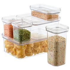 Preserve the freshness of dry foods such as sugar, flour, beans, pasta or rice with our Modular Canisters. The larger sizes are perfectly suited to refrigerating fruits and vegetables, too.  They're exceptionally clear so you'll know when you're running low. Stack several together to conserve countertop, pantry or refrigerator space.