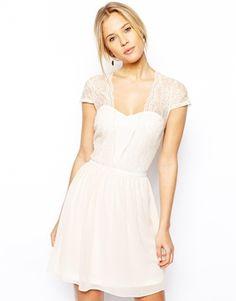 Buy ASOS Scallop Edge Skater Dress at ASOS. Get the latest trends with ASOS now. Lace Midi Dress, Skater Dress, Pink Dress, Dress Up, White Dress, Flower Girl Dresses, Vestidos Color Rosa, Dress Vestidos, Maxi Dresses