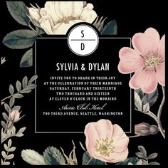 White version of floral wedding invitation is very classical