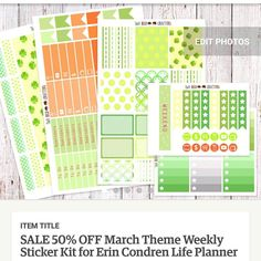 50% off sale for the March themed sticker kit! And yes it stacks with our ongoing 20% promo on Etsy! #tworedcrafters #lifeplanner #eclp #erincondrenvertical #etsy #planneraddict #plannerstickers #stickers #eclpstickers #mambi #filofax #discount #dicountcode #promo #promocode #sg #international #march #thehappyplanner #etsy by tworedcrafters