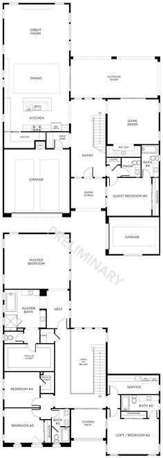 floor plan 4 4 5 beds 35 45 baths outdoor - 2 Storey House Plans