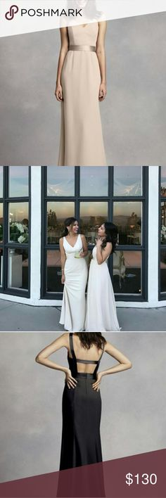 "Vera Wang Bridesmaid Dress Style #VW360195 Color: VW Champagne   Original White by Vera Wang bridesmaid dress bought from David's Bridal in 2017. Includes satin belt.  Alterations include the hem (fits 5'2"" wearing 5"" heels). Bust taken in slightly to fit 32B cup size.   Great condition! Please message me more more pics! White by Vera Wang Dresses Wedding"