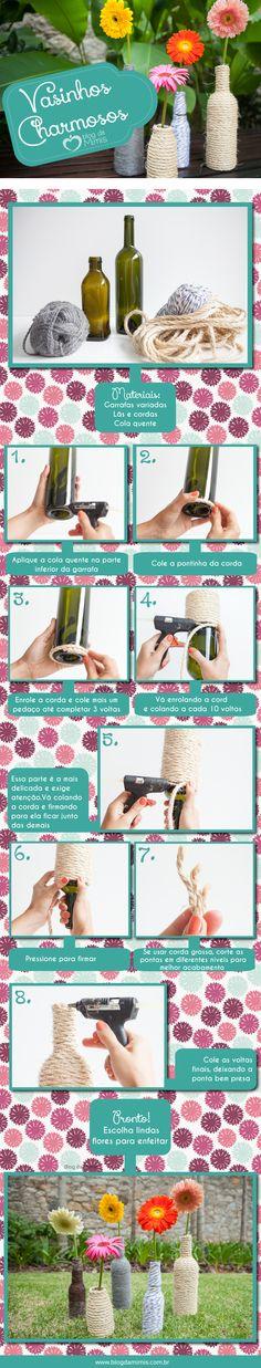 Faça em casa: vasinhos charmosos do Blog da Mimis - A dica de hoje são esses lindos vasinhos que podem ser usados para decorar e presentear. Com garrafas de vidro de formatos variados e lãs e cordas dá pra fazer muita coisa!  - DIY - craft - artesananto