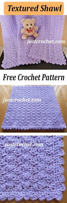 Pretty textured shawl free baby crochet pattern. #crochet