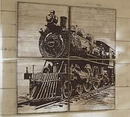 Planked Train Panels from Pottery Barn $299.  Hmmm... wonder if I could recreate this myself, possibly with Model T car or Biplane designs.