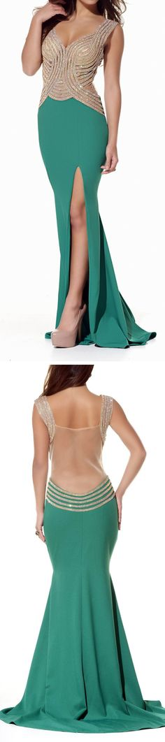 Emerald embellished gown