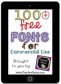 Add free fonts to your computer that you can use to sell teaching products. Here is a pinterest board collection linked to 100 fonts that are free for commercial use.