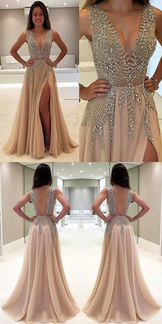 deep v neck prom dresses, champagne prom dresses, prom dresses with beading, backless homecoming dresses #homecomingdresses