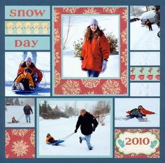 Snow Day - layout with lots of squares - both pics and paper