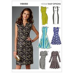 Buy Vogue Easy Options Women's Dress Sewing Pattern, 9050 Online at…