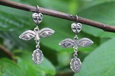 Sterling Silver Milagro Guadalupe & Eye Earrings Oaxaca Mexico Folk Art Boho