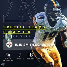 """889 Likes, 6 Comments - Pittsburgh Steelers Fans (@steelers_fans__club) on Instagram: """"@juju . He is the top AFC Players of the Week! Congrats ##juju #repost (@nfl)(@get_repost)"""""""