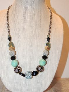 Funky Chunky Blues and Blacks, beaded Necklace with Lamp work beads and silver accents. by GabiLuBoutique on Etsy