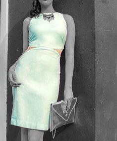 Slashed Blue Dress.find more women fashion on http://www.gawzus.com